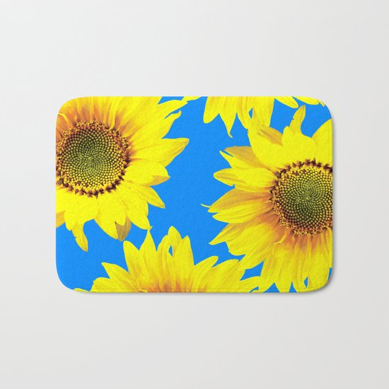 Sunny Sunflowers with blue sky - summer mood - #Society6 #buyart Bath Mat
