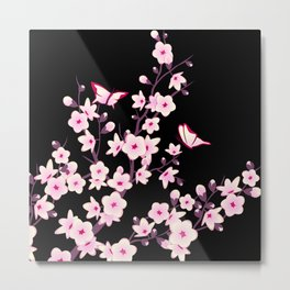 Cherry Blossoms Pink Black Metal Print