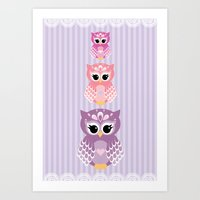 Owl Totem - purple Art Print