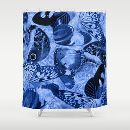 Blue Exotic Butterfly Wings and Scroll Collage Shower Curtain