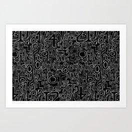 Sketched Numbers Art Print