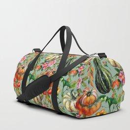 Vintage modern hand painted floral roses pumpkins pattern Duffle Bag
