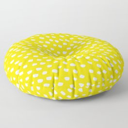 Brush Dot Pattern Yellow Floor Pillow