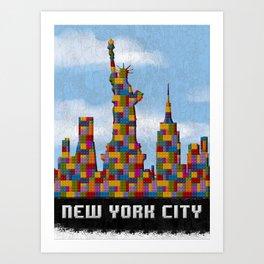 Statue of Liberty New York City Skyline Created With Lego Like Looking Blocks Art Print