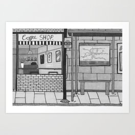 London Coffee Shop in Black and White Art Print
