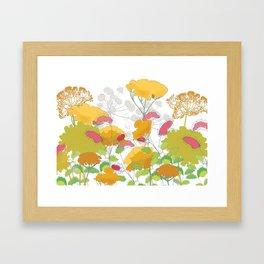 English flower print of Achillea and Sanguisorba by Emma Burnett Framed Art Print