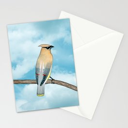 cedar waxwing and blue sky Stationery Cards