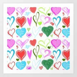 Love, Romance, Hearts - Red Blue Pink Green Art Print
