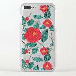 Pattern-red camellia Clear iPhone Case