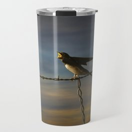 Barn Swallows on Barbwire Fence at Sunset Travel Mug