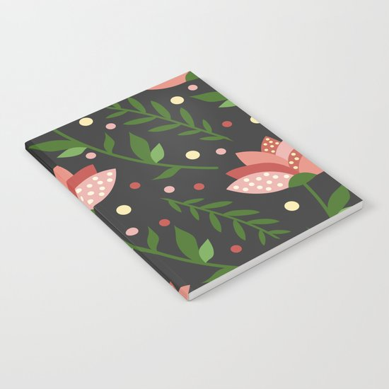 Floral grey pattern. Notebook