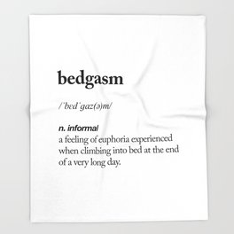 Bedgasm black and white contemporary minimalism typography design home wall decor bedroom Throw Blanket