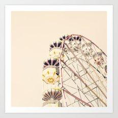 Blue Ferris Wheel on Cream Sky Art Print