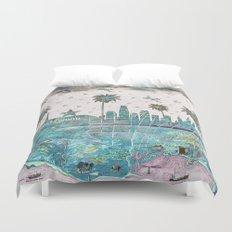 Los Angeles skyline vintage map Duvet Cover
