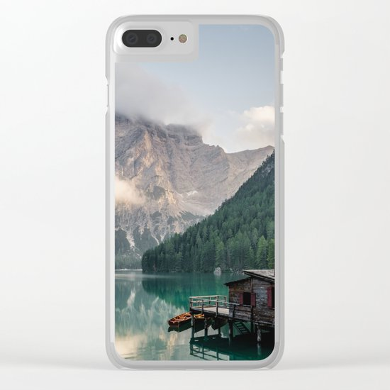 Mountain Lake Cabin Retreat Clear iPhone Case