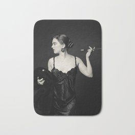 """A Noir Night Out"" - The Playful Pinup - Modern Gothic Twist on Pinup by Maxwell H. Johnson Bath Mat"