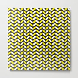 Geometric Pattern 255 (yellow black white curves) Metal Print