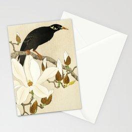 Bird Myna sitting on Magnolia tree - Vintage Japanese Woodblock Print Stationery Cards