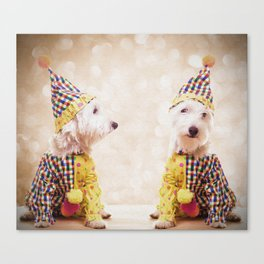 Circus Clown Dogs Canvas Print