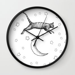 Cat Jumping Over The Moon Wall Clock