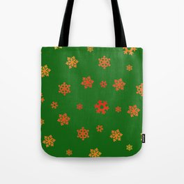 Snowflakes (Red & Gold on Green) Tote Bag