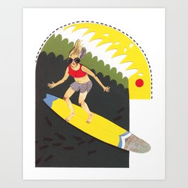 Wave riding Art Print