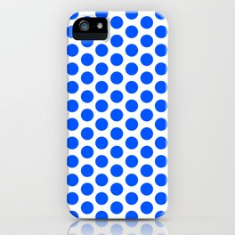 Digital Design with blue round dots on a white background iPhone Case