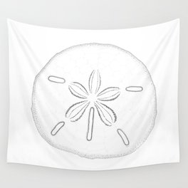 Sand Dollar Blessings - Black on White Pointilism Art Wall Tapestry