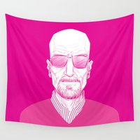 walter white Wall Tapestries featuring Walter White by Ron Chan