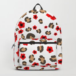 Romantic Leopard Print and Flowers on White Backpack