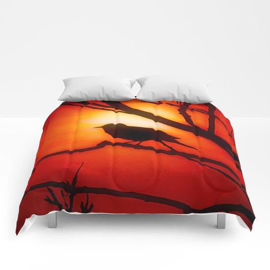 Blackbird in the morning light Comforters