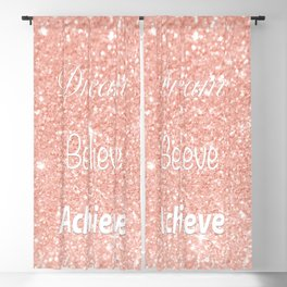 Dream Believe Achieve Rose Gold Blackout Curtain