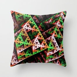 Pink & Green 3D Sierpinski Triangle Fractal Art Print Throw Pillow