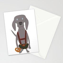 Oktoberfest German Weim Grey Ghost Weimaraner Dog Hand-painted Pet Drawing Stationery Cards