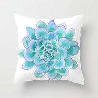 succulent Throw Pillows featuring Succulent by Susan Windsor