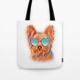 Yorkshire Terrier Colorful Yorkie Neon Dog Sunglasses Tote Bag