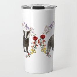 Badger in Floral Wreath Travel Mug