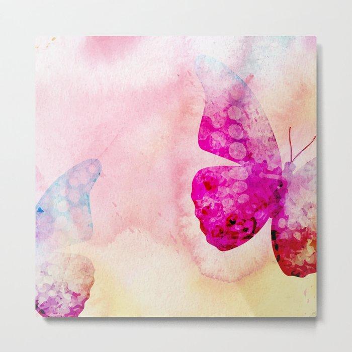 Pink Watercolor Butterfly Metal Print