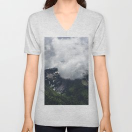 Clouds covering mountains Unisex V-Neck