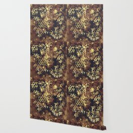 bees fill honeycombs in hive splatter watercolor old brown Wallpaper