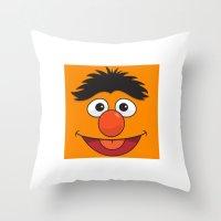 sesame street Throw Pillows featuring Sesame Street Bert by Jconner
