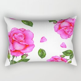 Shabby Chic Vintage Pink Rose Rectangular Pillow