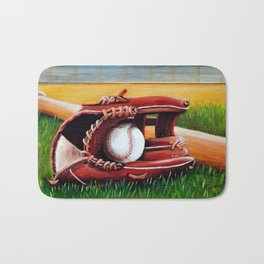 """Baseball"" Fine Art Print,Giclee Boys room,Whimsical Art,Sports room decor, Sports Theme Bath Mat"