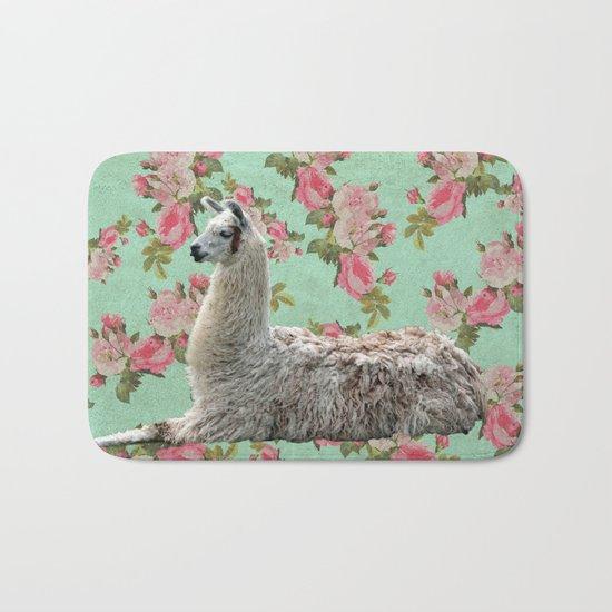 Floral Llama Bath Mat