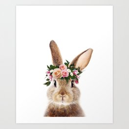 Baby Rabbit, Brown Bunny With Flower Crown, Baby Animals Art Print By Synplus Art Print