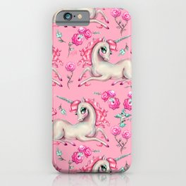 Unicorns and Roses on Pink iPhone Case
