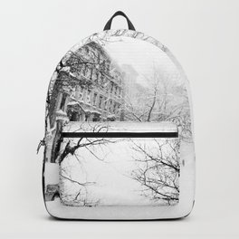 New York City At Snow Time Black and White Backpack