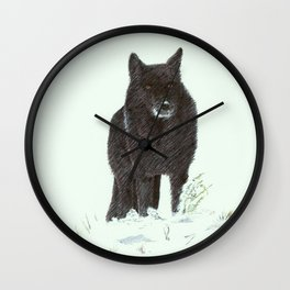 Wolf's snow Wall Clock
