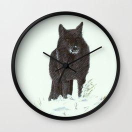 Wolf's snow Wall Clock