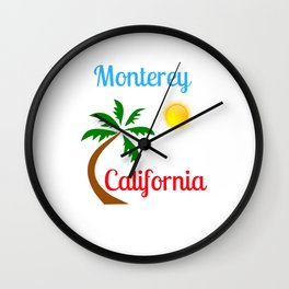 Monterey California Palm Tree and Sun Wall Clock